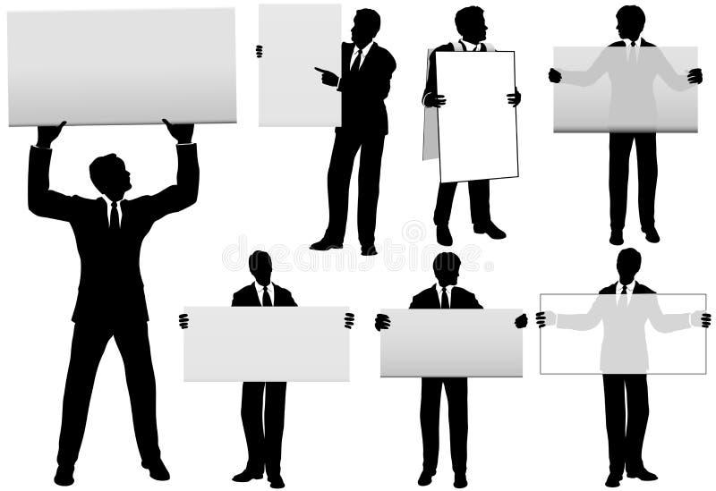 Un insieme di cinque segni dell'annuncio della stretta degli uomini di affari illustrazione di stock