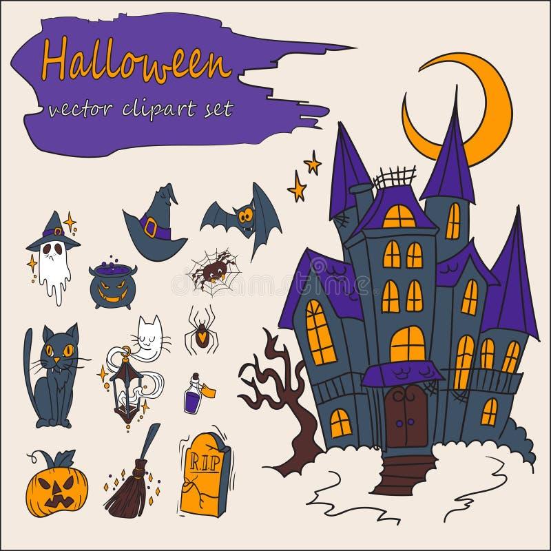 Un insieme di 13 clipart di vettore di Halloween immagini stock libere da diritti