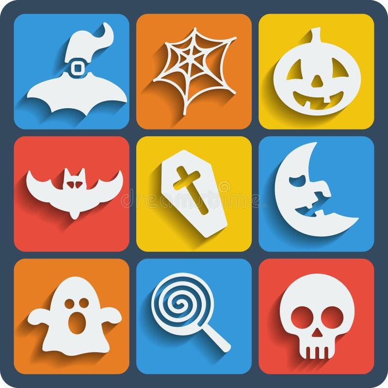 Un insieme di 9 del web di Halloween ed icone del cellulare Vettore illustrazione vettoriale