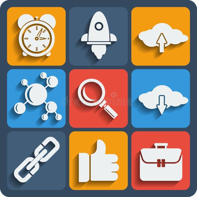 Un insieme di 9 del web di seo ed icone del cellulare Vettore illustrazione di stock