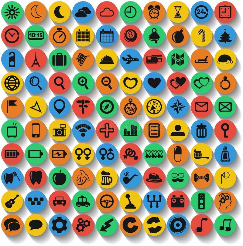 Un insieme di 100 del web ed icone del cellulare. Vettore. illustrazione vettoriale