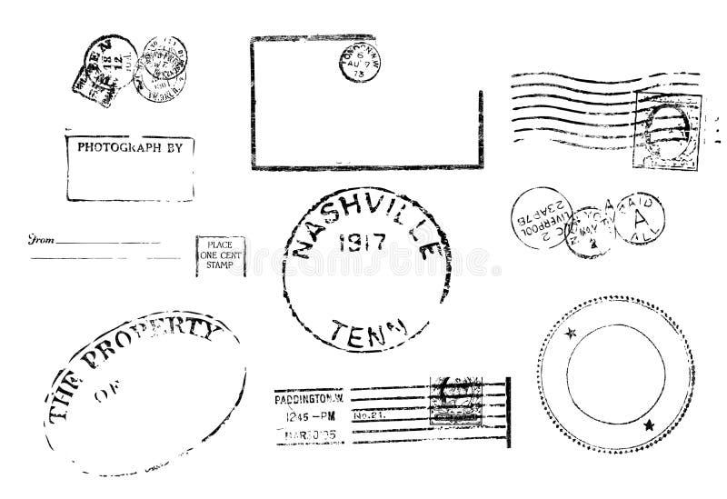 Un insieme di dieci contrassegni postali dell'annata antica. illustrazione di stock