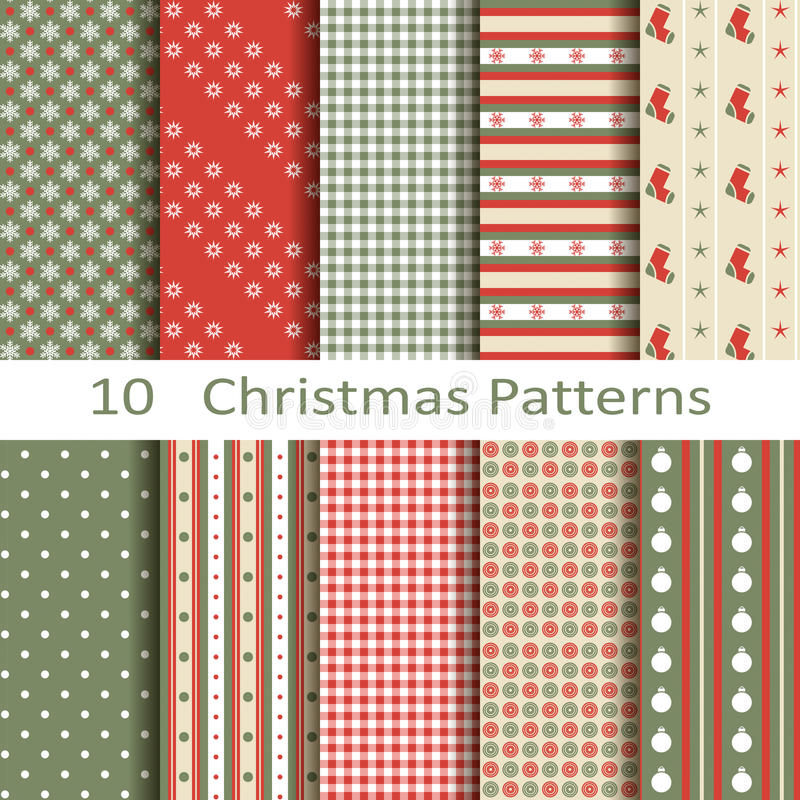 Un insieme di dieci modelli di Natale illustrazione vettoriale