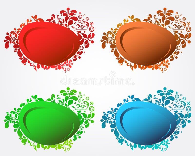 Un insieme di discorso floreale moderno elegante quattro bolle illustrazione di stock