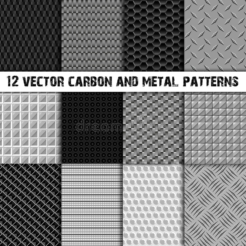 Un insieme di dodici carbonio e del modello senza cuciture del metallo royalty illustrazione gratis