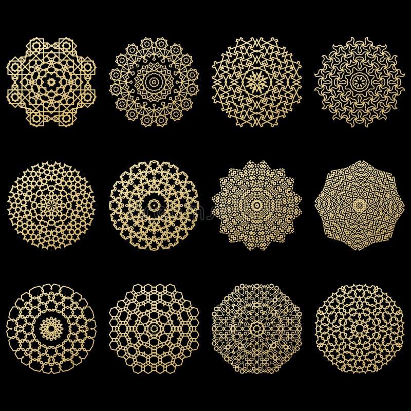 Un insieme di dodici mandale dell'oro Elemento geometrico di arabo del cerchio illustrazione di stock