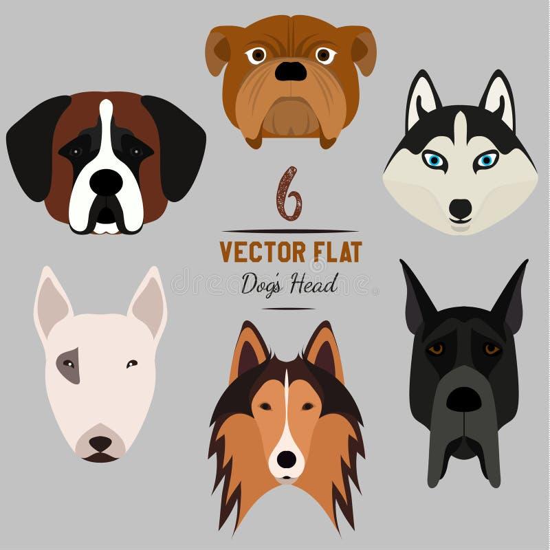 Un insieme 6 di dog& x27; testa di s Progettazione piana pets Cagnolini svegli illustrazione vettoriale