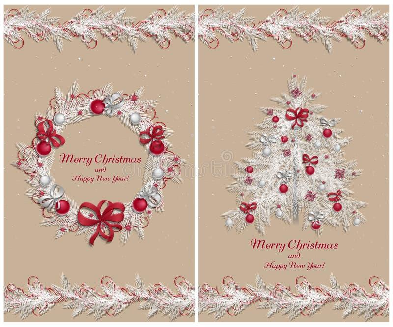 Un insieme di due cartoline d'auguri illustrazione vettoriale