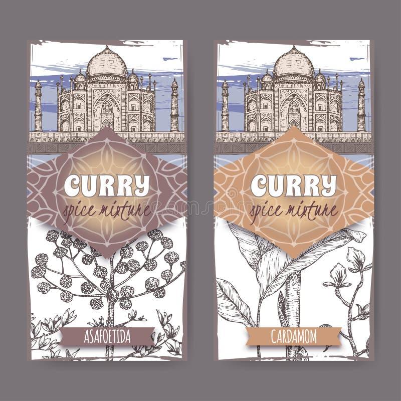 Un insieme di due etichette con assafetida, il cardamomo e schizzo disegnato a mano di colore dell'elefante di Taj Mahal illustrazione di stock