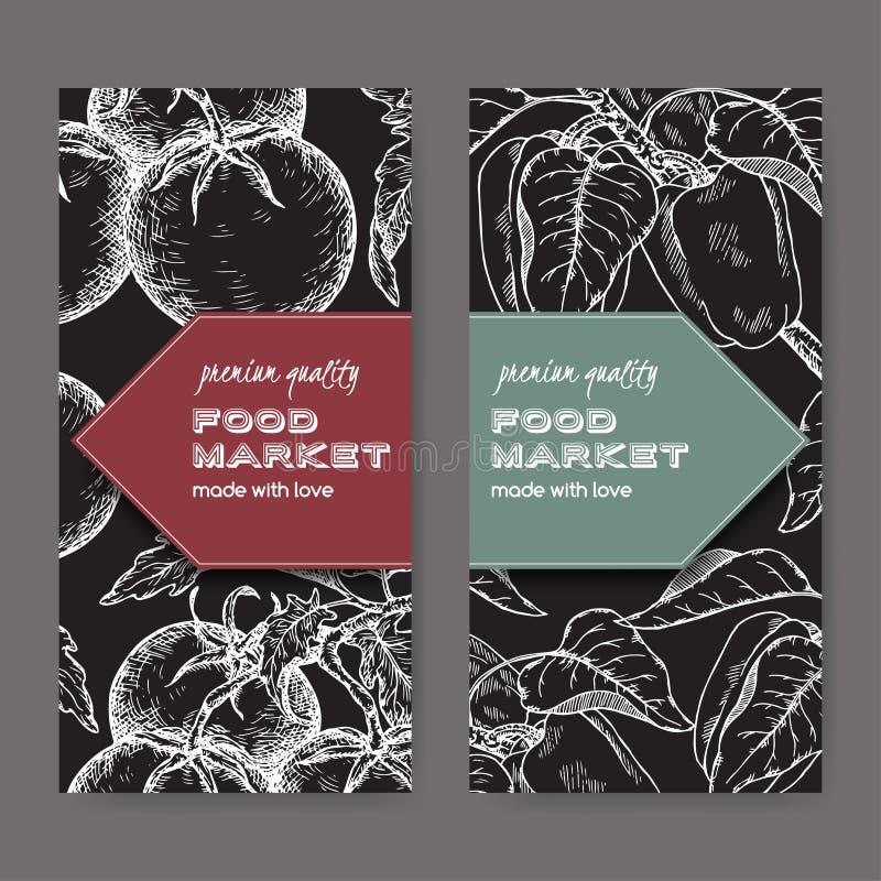 Un insieme di due etichette con i pomodori ed i peperoni freschi sul nero illustrazione vettoriale