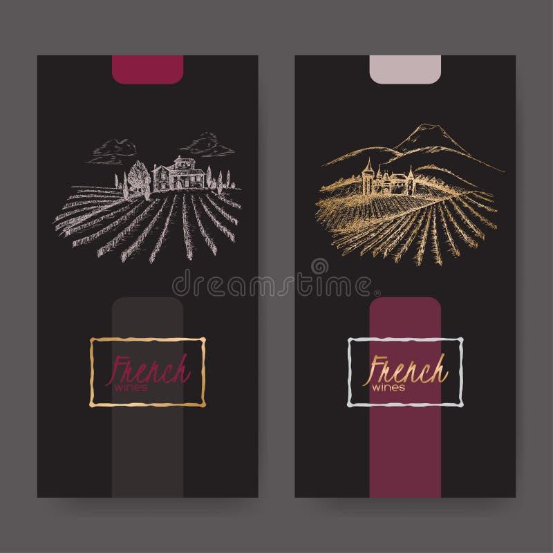 Un insieme di due etichette del vino con la vigna abbellisce illustrazione di stock
