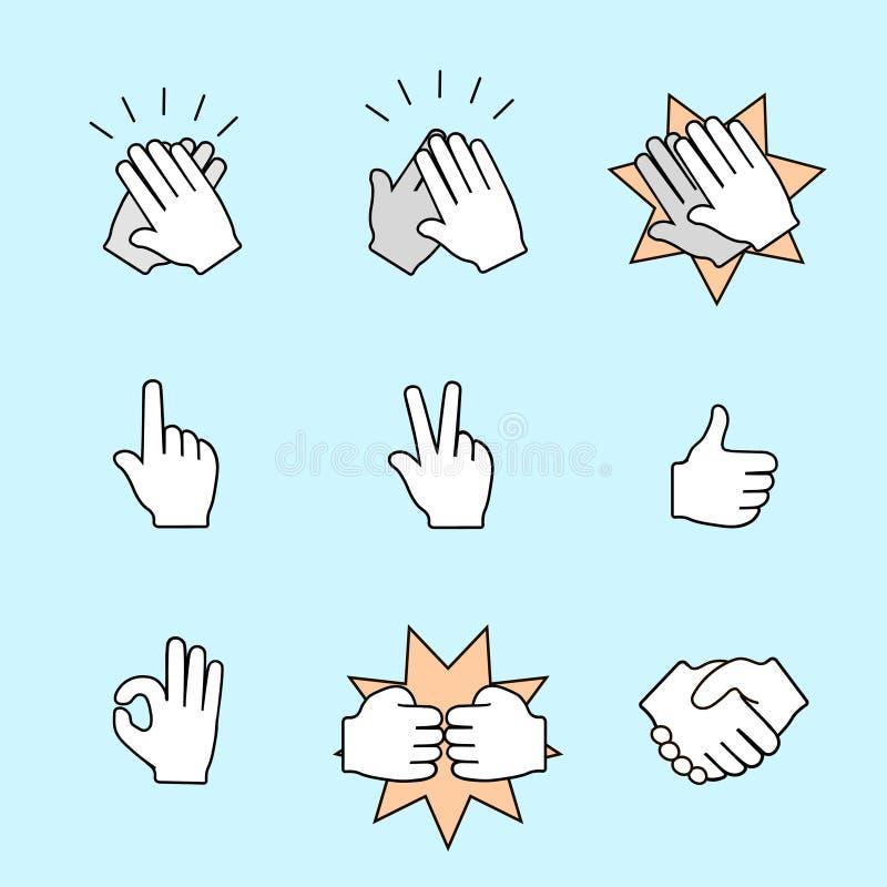 Un insieme di due icone delle mani Stretta di mano, applaudente illustrazione di stock