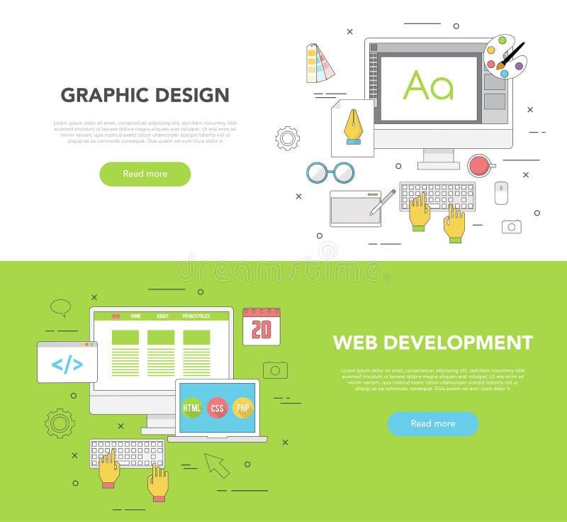 Un insieme di due insegne di web per progettazione grafica e sviluppo Web illustrazione di stock