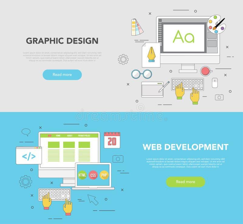 Un insieme di due insegne di web per progettazione grafica e sviluppo Web illustrazione vettoriale