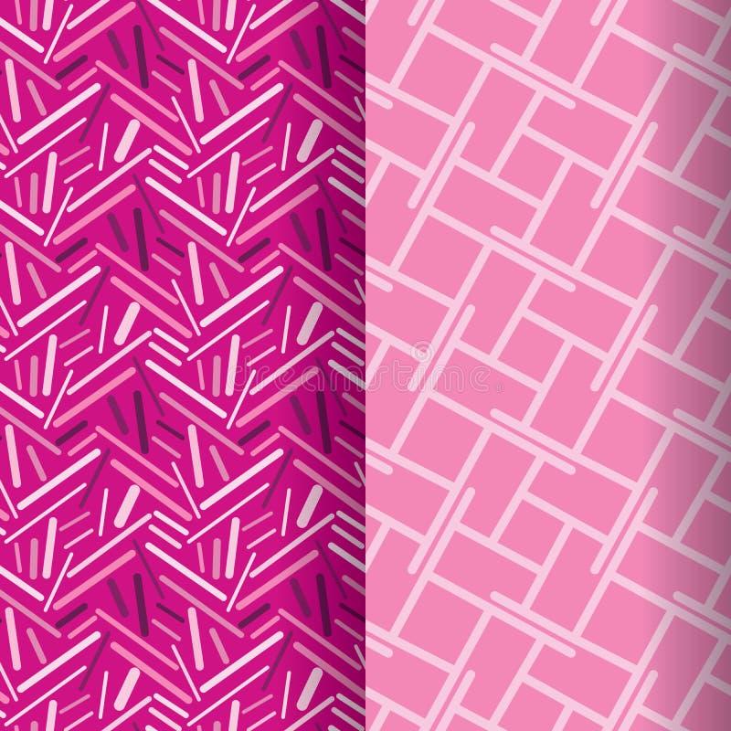 Un insieme di due modelli geometrici moderni di bello rosa con le linee, i triangoli ed i quadrati royalty illustrazione gratis