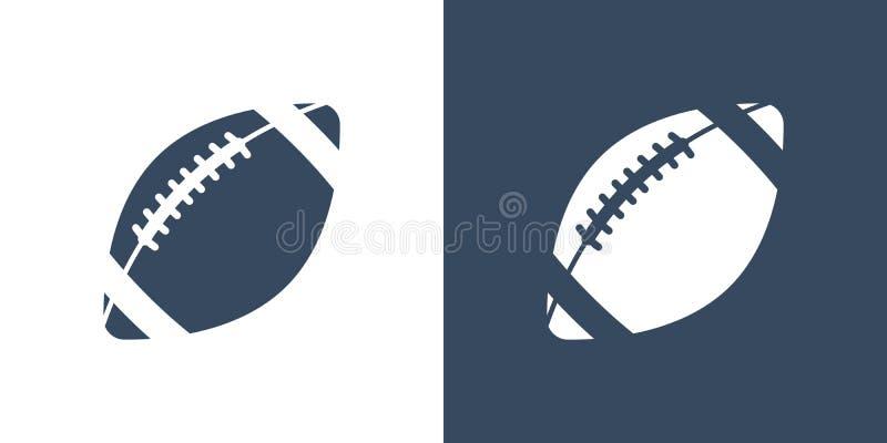 Un insieme di due variazioni delle icone semplici della palla per football americano Su un fondo bianco e blu scuro rugby illustrazione vettoriale