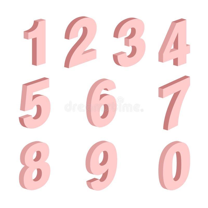Un insieme di elementi di forme di dieci numeri zero - nove, progettazione di numero illustrazione vettoriale