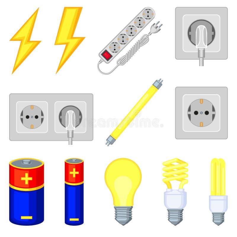 un insieme di 12 elementi elettrico del fumetto variopinto illustrazione di stock