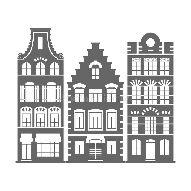 Un insieme di 3 facciate delle case dell 39 olanda di forma for Immagini facciate case