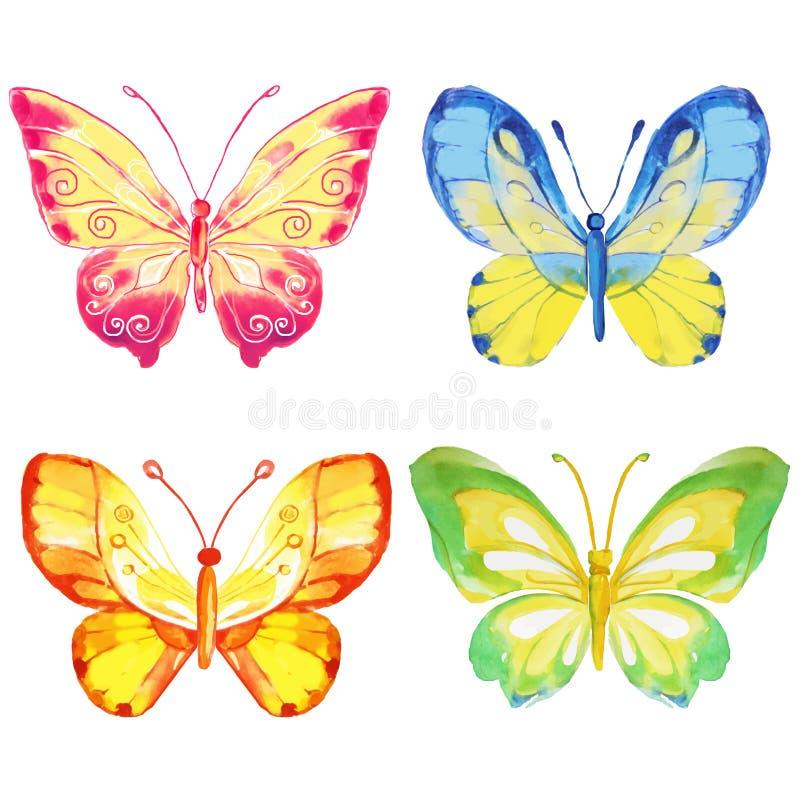 Un insieme di 4 farfalle dell'acquerello su un fondo bianco royalty illustrazione gratis