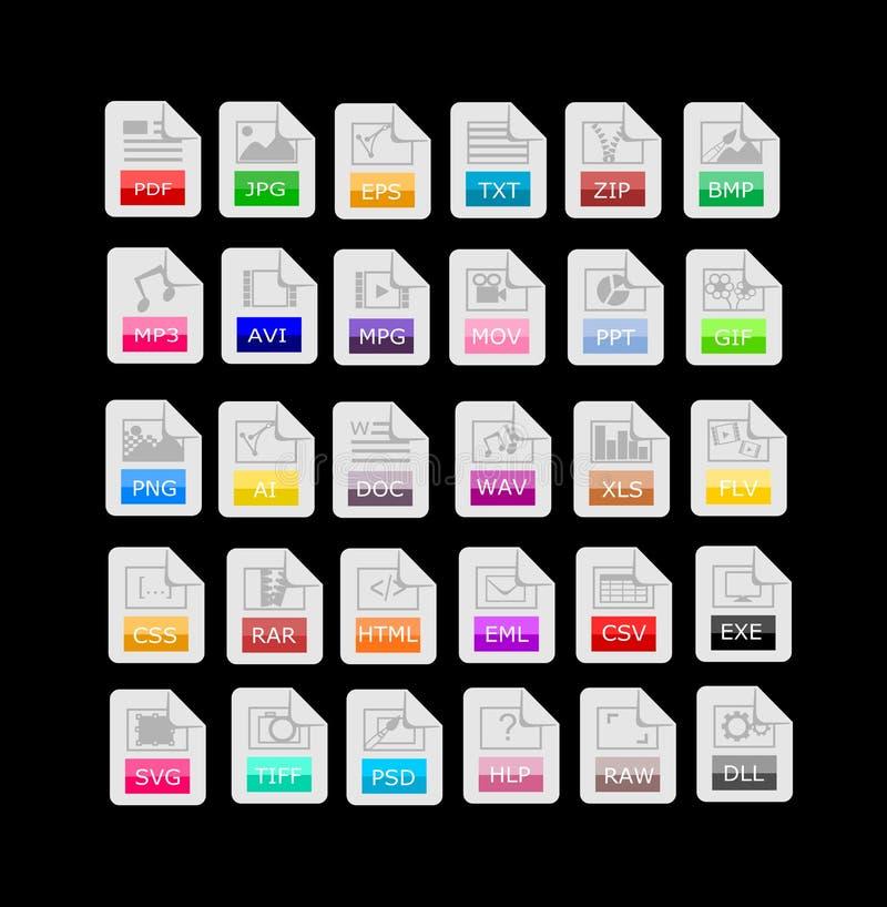 Un insieme di 30 formati di file, icone di estensioni illustrazione vettoriale