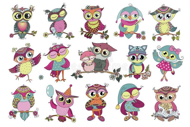Un insieme di 16 gufi variopinti svegli del fumetto royalty illustrazione gratis