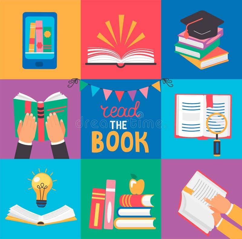 Un insieme di 9 icone con i concetti del libro royalty illustrazione gratis