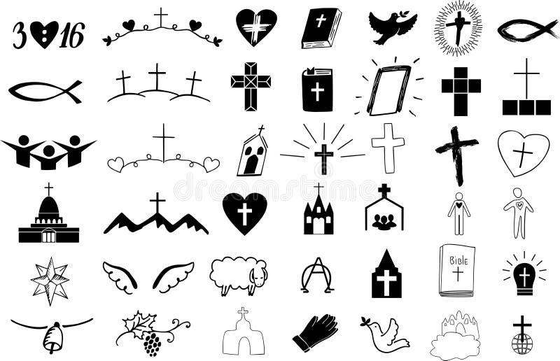 Un insieme di 42 icone cristiane royalty illustrazione gratis