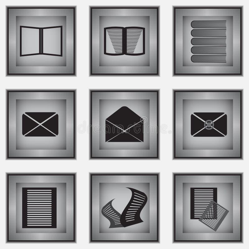 Un insieme di 9 icone della cancelleria