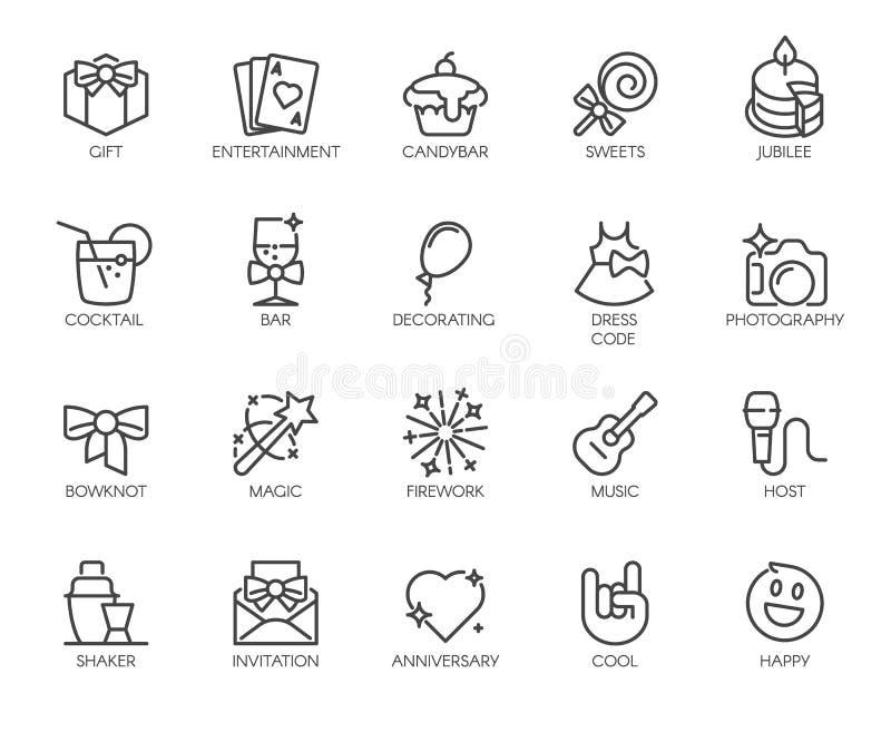 Un insieme di 20 icone lineari sul tema di musica, partiti, spettacolo, eventi Elementi grafici di web Logos del profilo Vettore illustrazione vettoriale