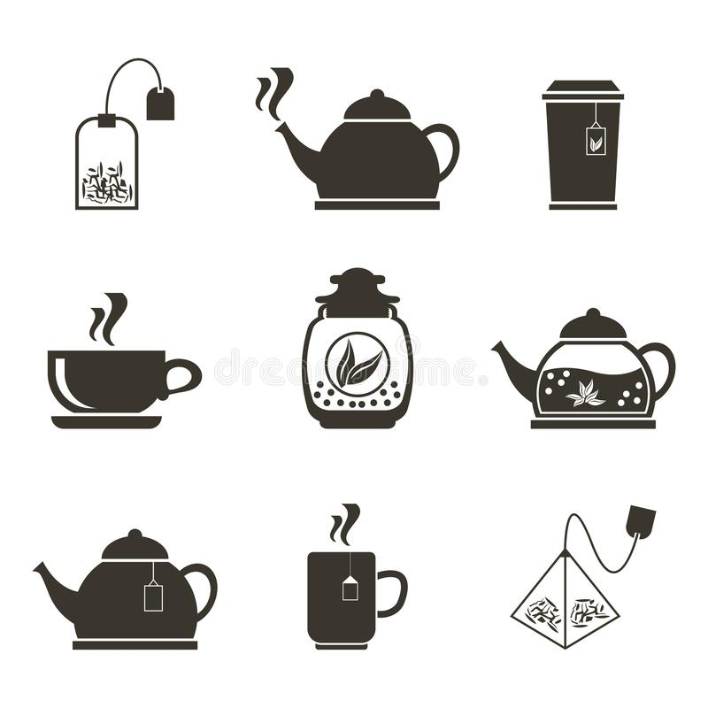 Un insieme di 9 icone per bere del tè Piatti e vari tè immagine stock libera da diritti