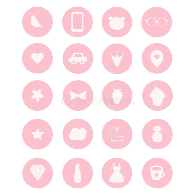 Un insieme di 20 icone di vettore nello stile girly rosa illustrazione di stock