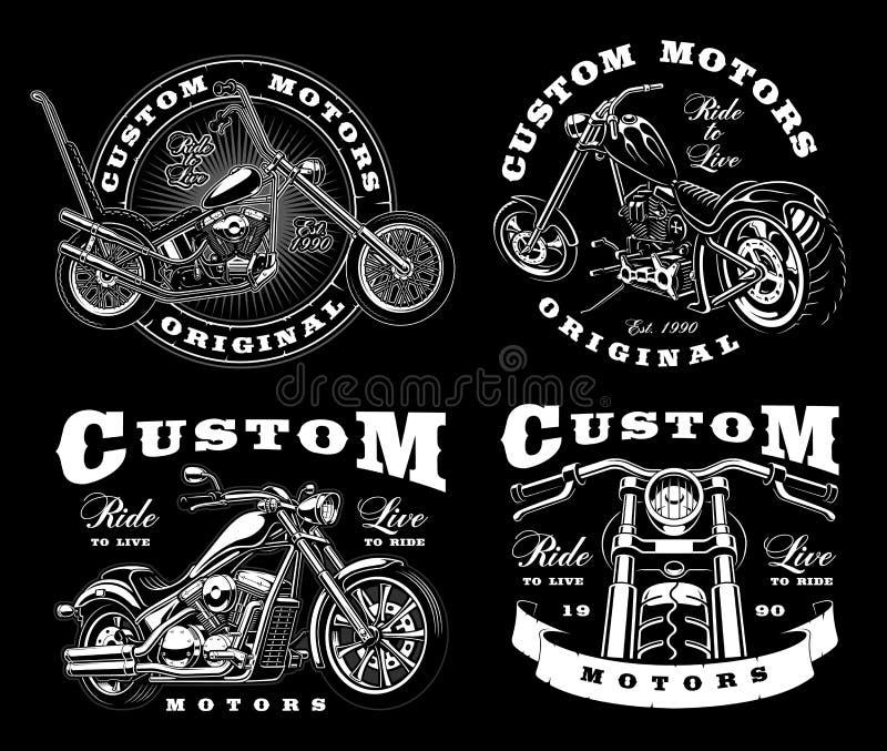 Un insieme di 4 illustrazioni d'annata del motociclista su background_3 scuro illustrazione vettoriale