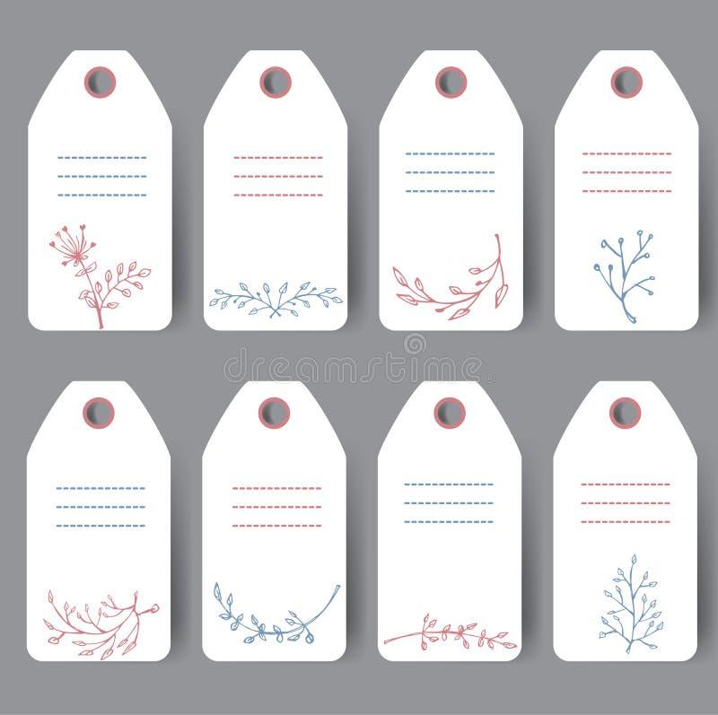 Un insieme di 8 inviti romantici decorativi La celebrazione carda la raccolta San Valentino, compleanno, etichette di nozze illustrazione di stock