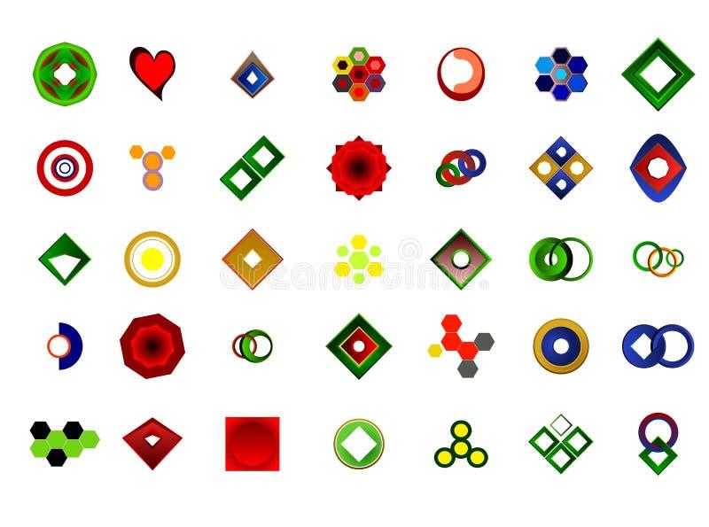 Un insieme di 35 logos ed icone illustrazione di stock