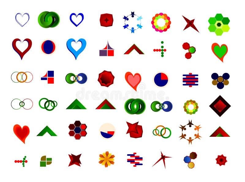 Un insieme di 48 logos ed icone illustrazione vettoriale