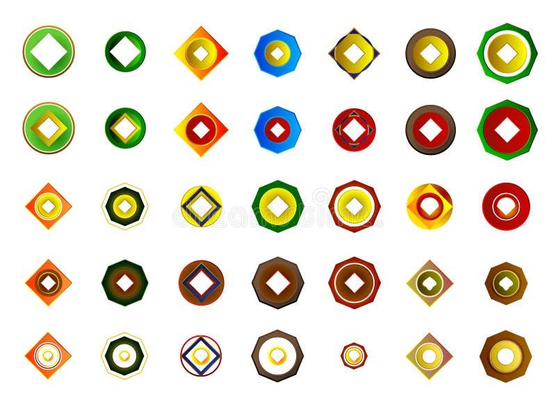 Un insieme di 35 logos ed icone illustrazione vettoriale
