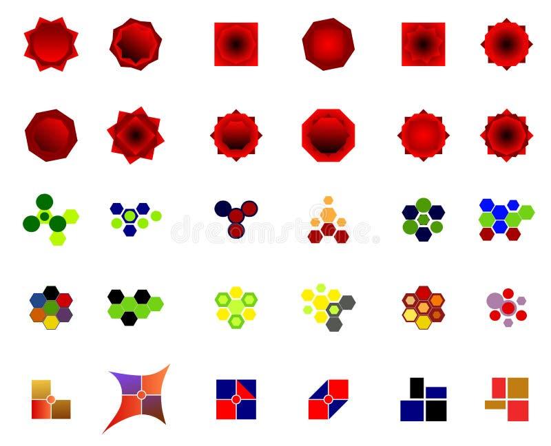 Un insieme di 30 logos ed icone illustrazione di stock