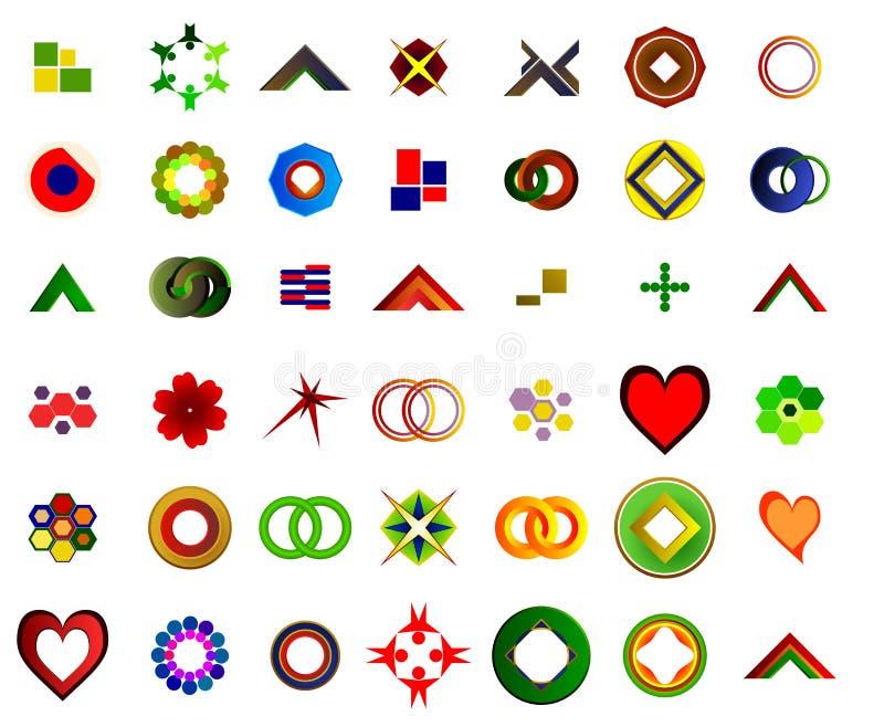 Un insieme di 42 logos ed icone illustrazione vettoriale