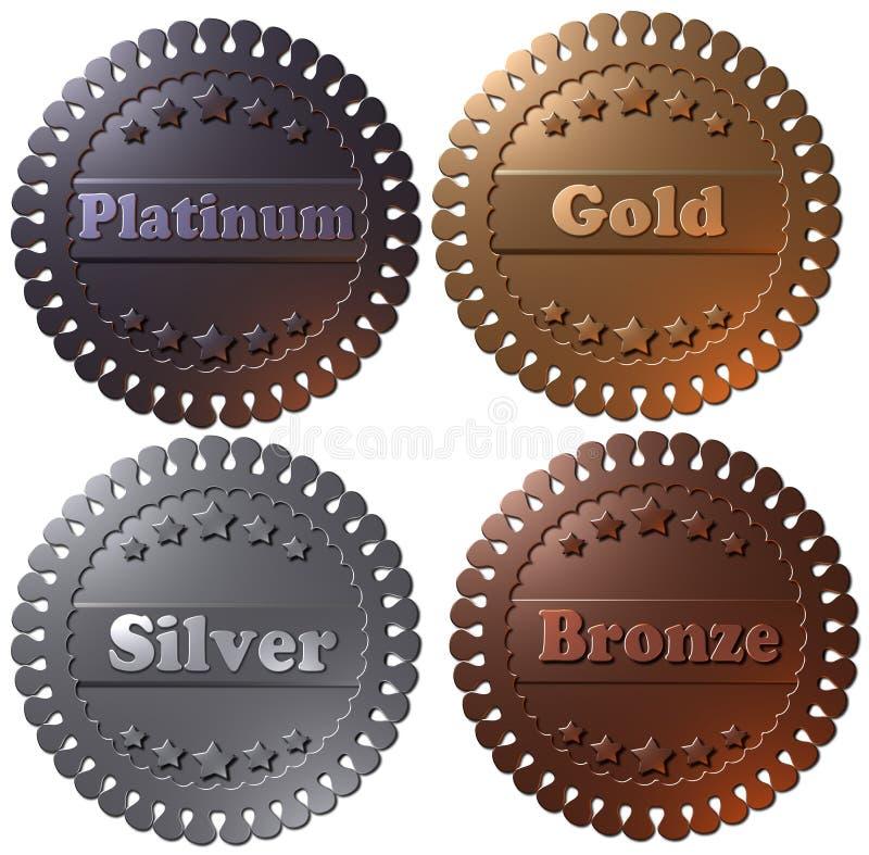 Un insieme di 4 medaglie, argento dell'oro del platino e bronzi resi 3D royalty illustrazione gratis