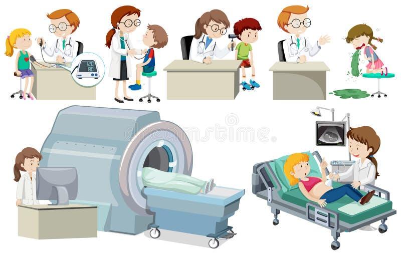Un insieme di medico e del paziente illustrazione di stock