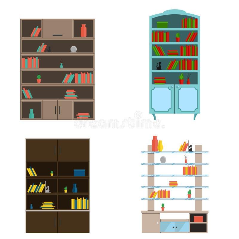 Un insieme di mobilia per il salone ed il gabinetto scaffali per libri, scaffali Nell'illustrazione piana di vettore differente d illustrazione di stock