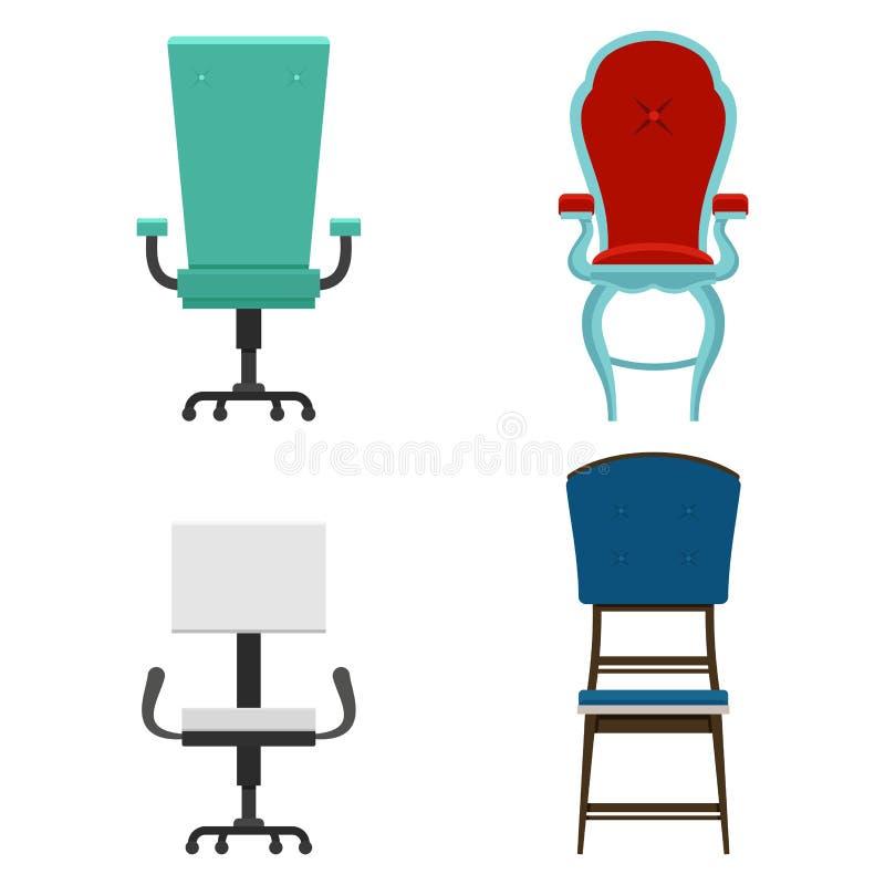 Un insieme di mobilia per la stanza sedie nell'illustrazione piana di vettore differente di stili illustrazione di stock