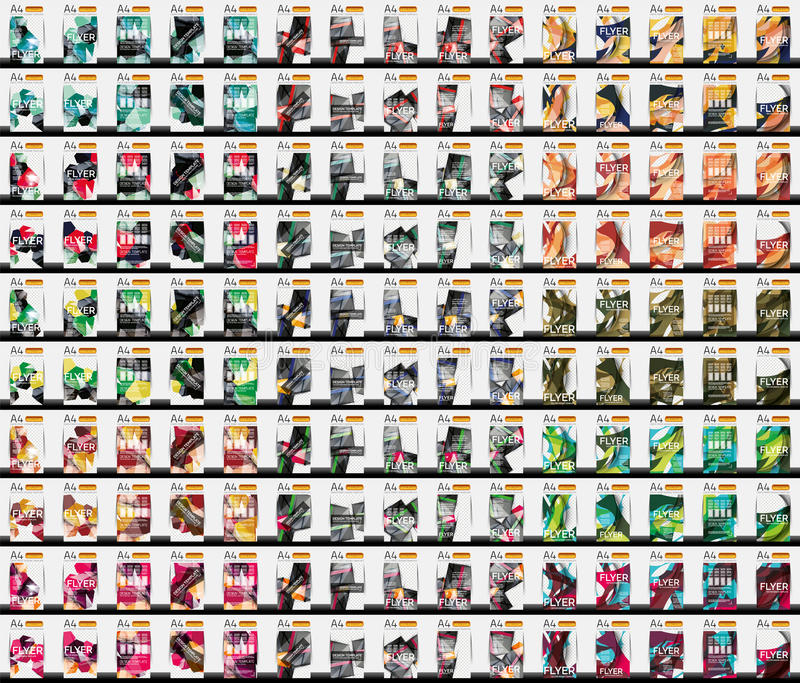 Un insieme di 150 modelli dell'aletta di filatoio di affari illustrazione vettoriale