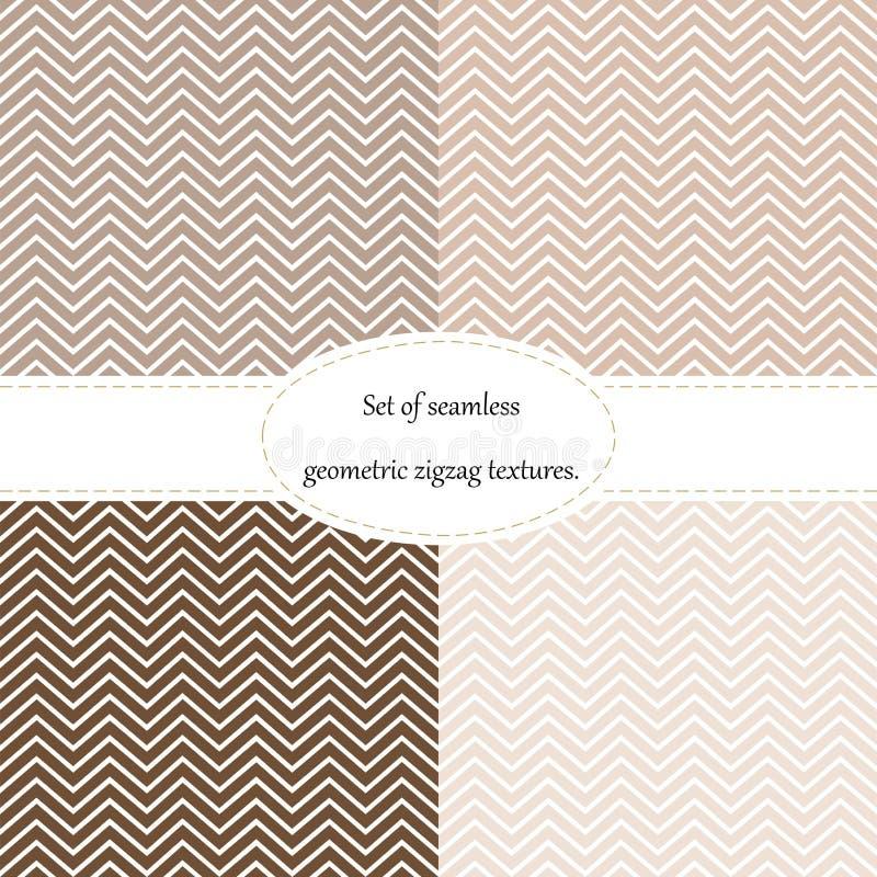 Un insieme di 4 modelli, gallone, senza cuciture, geometrico, struttura di zigzag di marrone, da beige a cioccolato illustrazione vettoriale