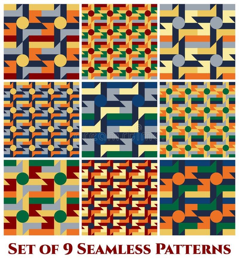 Un insieme di 9 modelli senza cuciture geometrici alla moda con le forme del mulino a vento, del cerchio, di rettangolo, del quad royalty illustrazione gratis