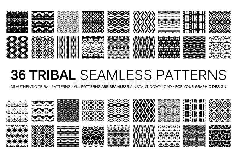 Un insieme di 36 modelli senza cuciture tribali illustrazione di stock
