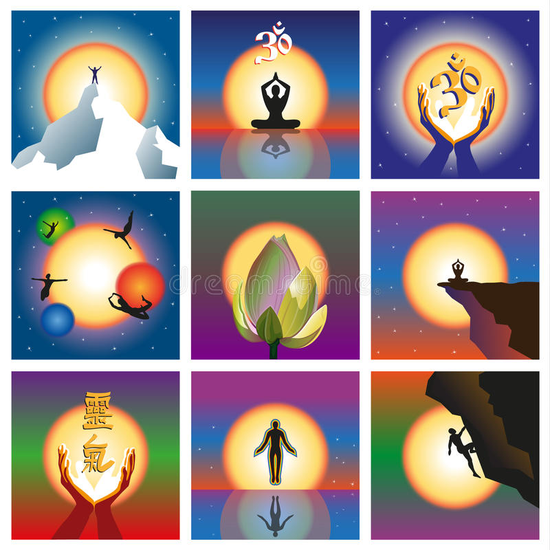 Un insieme di nove concetti concernenti lo spirito e l'energia illustrazione vettoriale