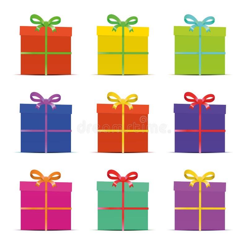 Un insieme di nove contenitori di regalo variopinti differenti per illustrazione vettoriale