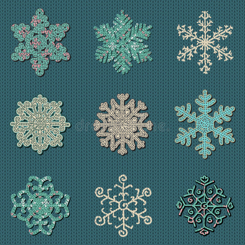 Un insieme di nove fiocchi di neve tricottati cuciti svegli di vettore illustrazione di stock
